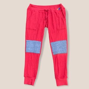 NWT Aviator Nation Women Moto Sweatpants Red/Gray